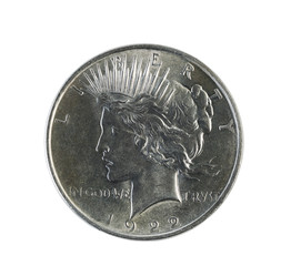 Silver Peace Dollar on White