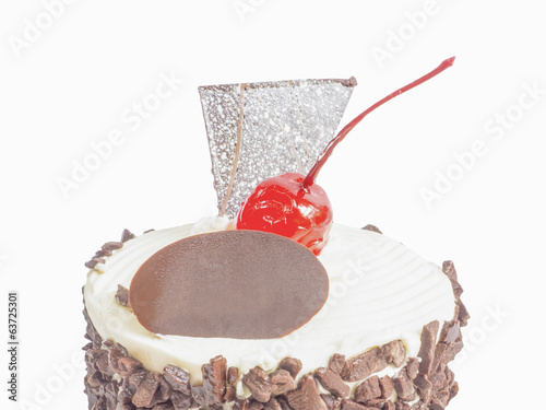 Chocolate cake with chocolate plate for wording