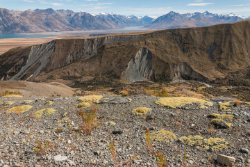 barren slopes in Southern Alps, New Zealand