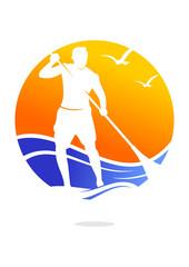paddle board sun waves seagull