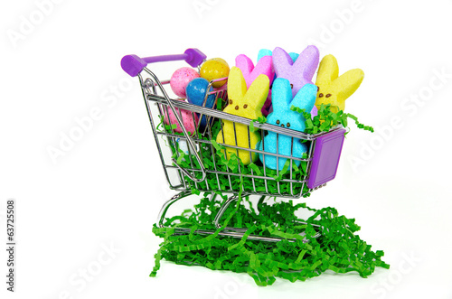Easter candy in shopping cart