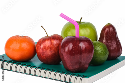 fruits on book