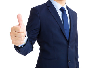 Businessman hand showing thumb up