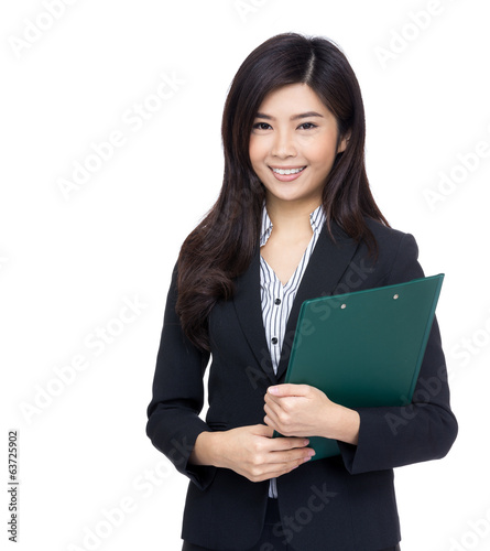 Asia businesswoman hold clipboard