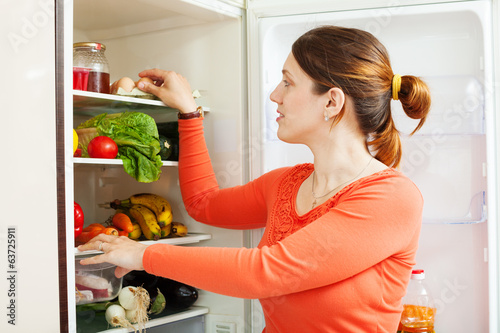 housewife near refrigerator