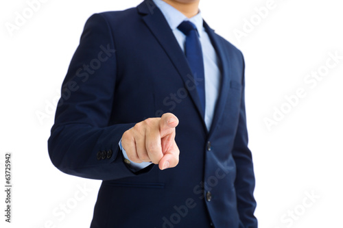 Business man touch screen against white background