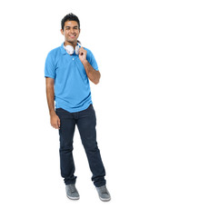 Confident Young Indian Man Standing and Smiling