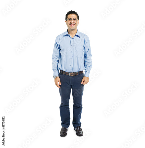 Confident Man Standing and Smiling