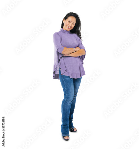 Confident Asian Woman Standing with Arms Crossed