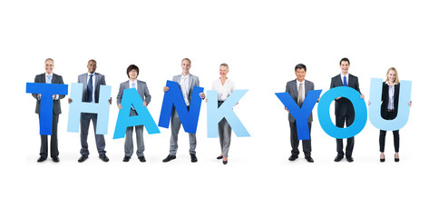 Multi-Ethnic Business People Holding Thank You