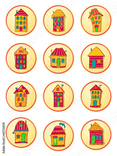 Round icons with cute cartoon-style houses