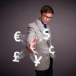 Attractive man throwing currency icons