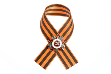 Saint George ribbon with order of  great Patriotic war isolated