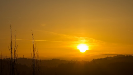Sunrise over Oregon Cascade Range in Happy Valley