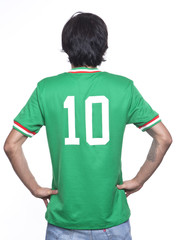man back with mexico jersey