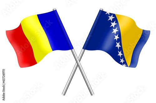 Flags: Romania and Bosnia-Herzegovina