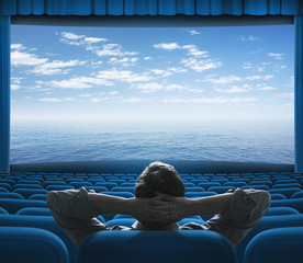 sea or ocean on cinema screen