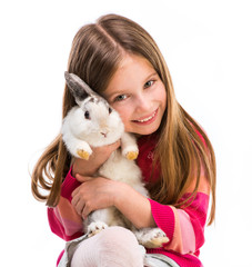 cute girl  with baby rabbit