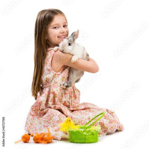 happy little girl and rabbit