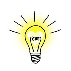 ハートマークに輝く電球