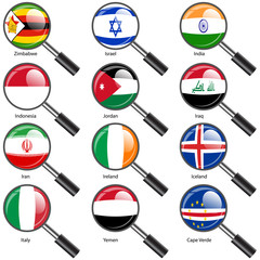 Set Flags of world sovereign states magnifying glass. Vector il