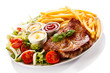 canvas print picture - Grilled steak, French fries and vegetables