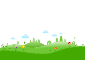 Grüne Landschaft mit Wald und Blumen