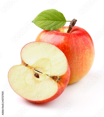 canvas print picture Ripe apples with leaf