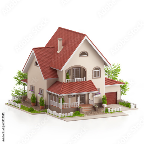 Graphic illustration of a modern house, on white background