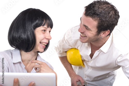 couple having fun at the office