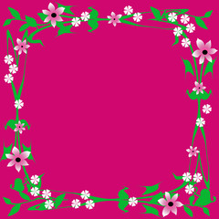 flower frame on fuchsia