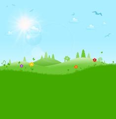 Grüne Landschaft mit Sonne