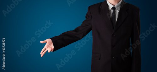 Businessman pressing imaginary button