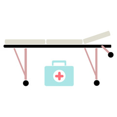 medical trolley and suitcase