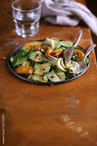 Fresh summer salad with courgette or zucchini