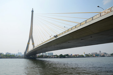 Rama VIII bridge over the Chao Praya river in Bangkok, Thailand.