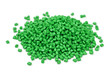 Pile of green polymer granules