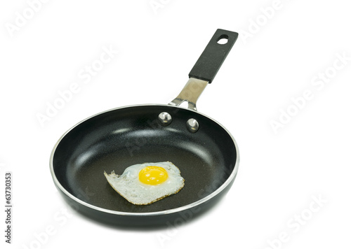 Nonstick coated pan with fried egg
