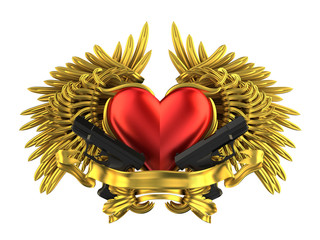 heart with gun and wing - love of a ganster
