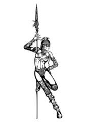 Striptease of warrior woman