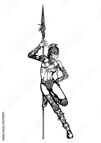 Striptease of warrior woman