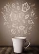 Coffee mug with hand drawn kitchen accessories