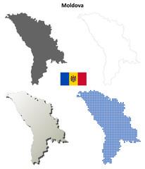 Blank detailed contour maps of Moldova