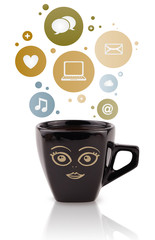 Coffee cup with social and media icons in colorful bubbles