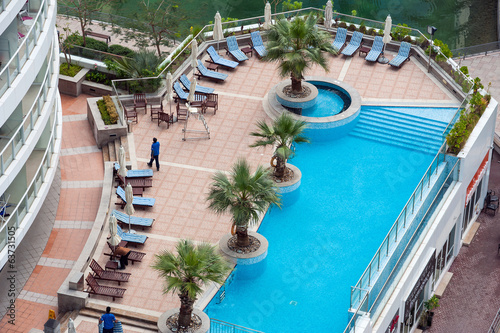 Swimming pool view from above.