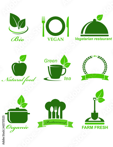set of vegetarian food icons