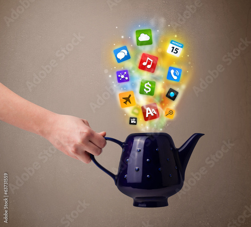 Tea pot with colorful media icons
