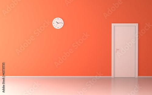 Wall clock in empty room with orange wall and white door