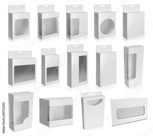 Collection of White Product Package Box With Window