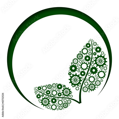 Green Leaves With Gears Circles